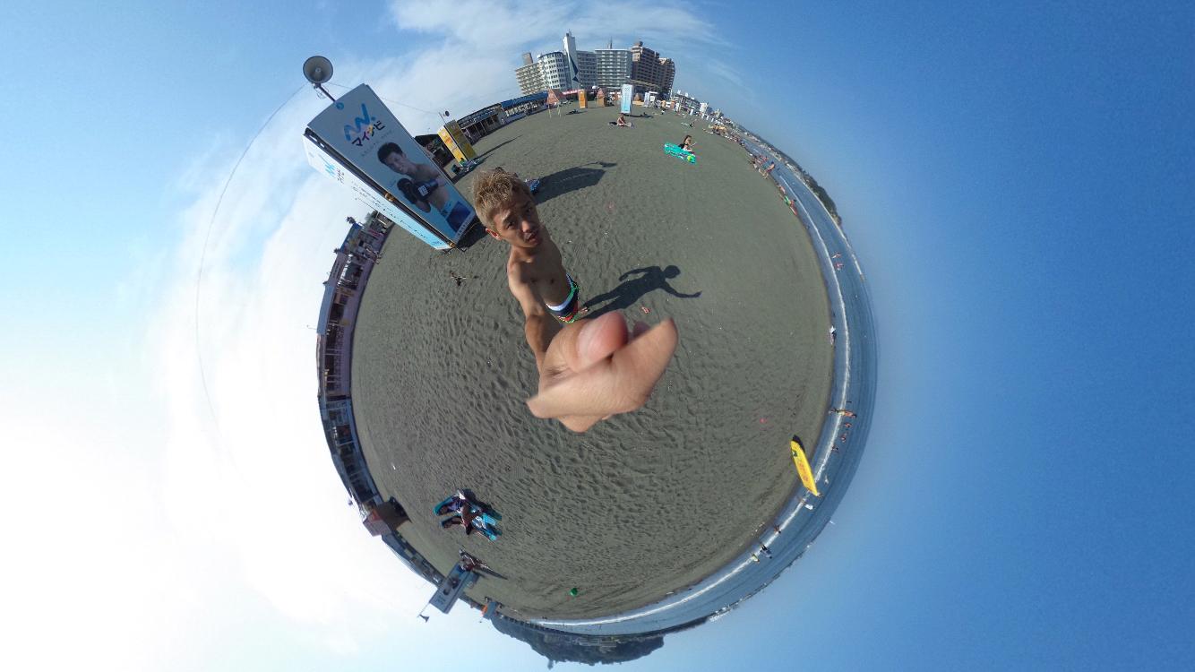 江ノ島海岸でTHETA(シータ)撮影