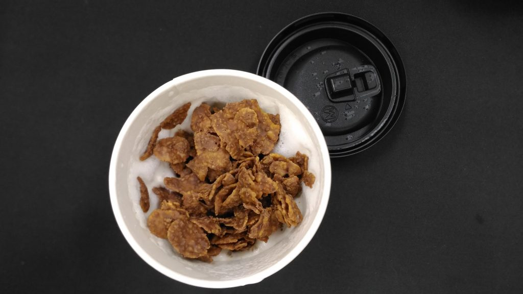 ローソンのホットミルクとチョコフレーク
