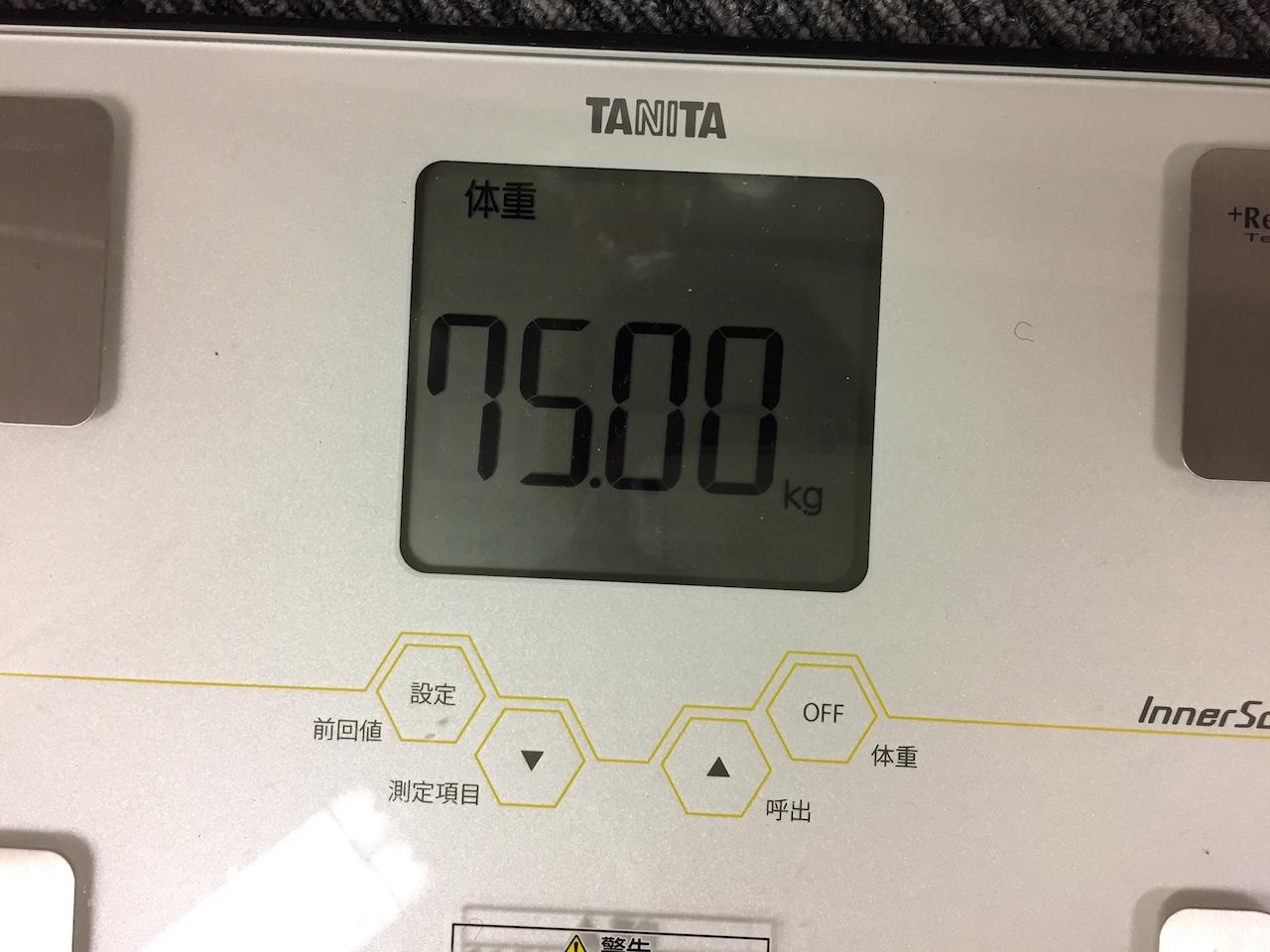 本日の体重(2018/7/20)