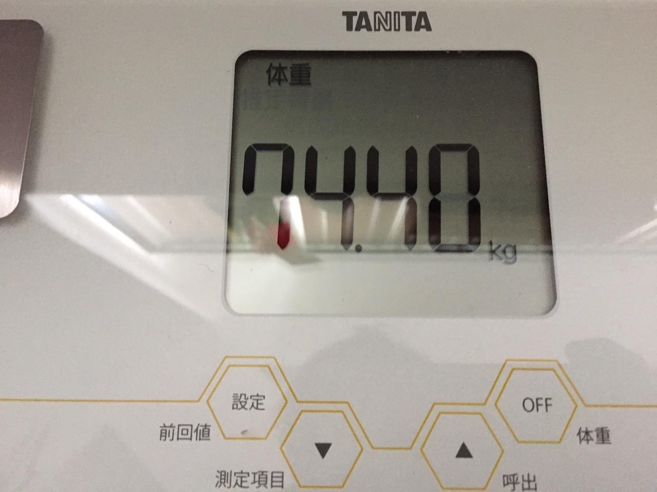 本日の体重(2018/7/23)