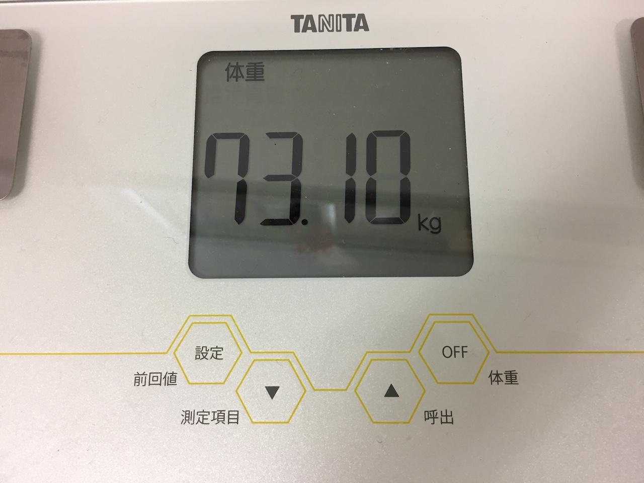 本日の体重(2018/7/30)