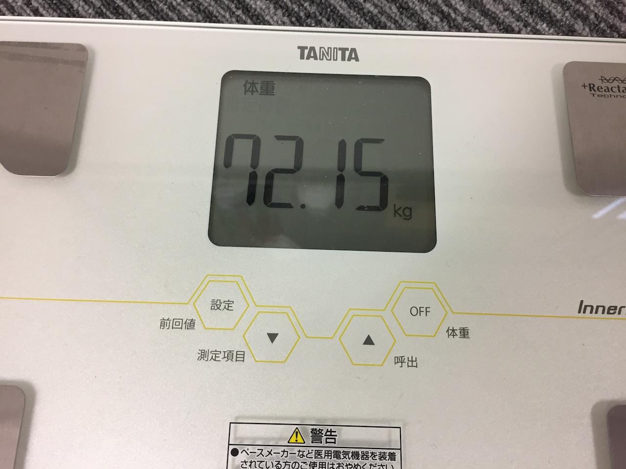 本日の体重(2018/8/16)