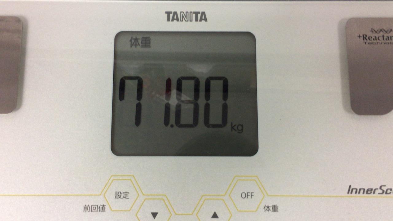 本日の体重(2018/8/23)
