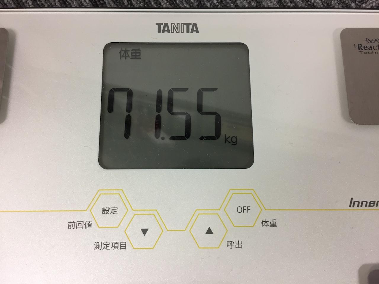 本日の体重(2018/8/29)