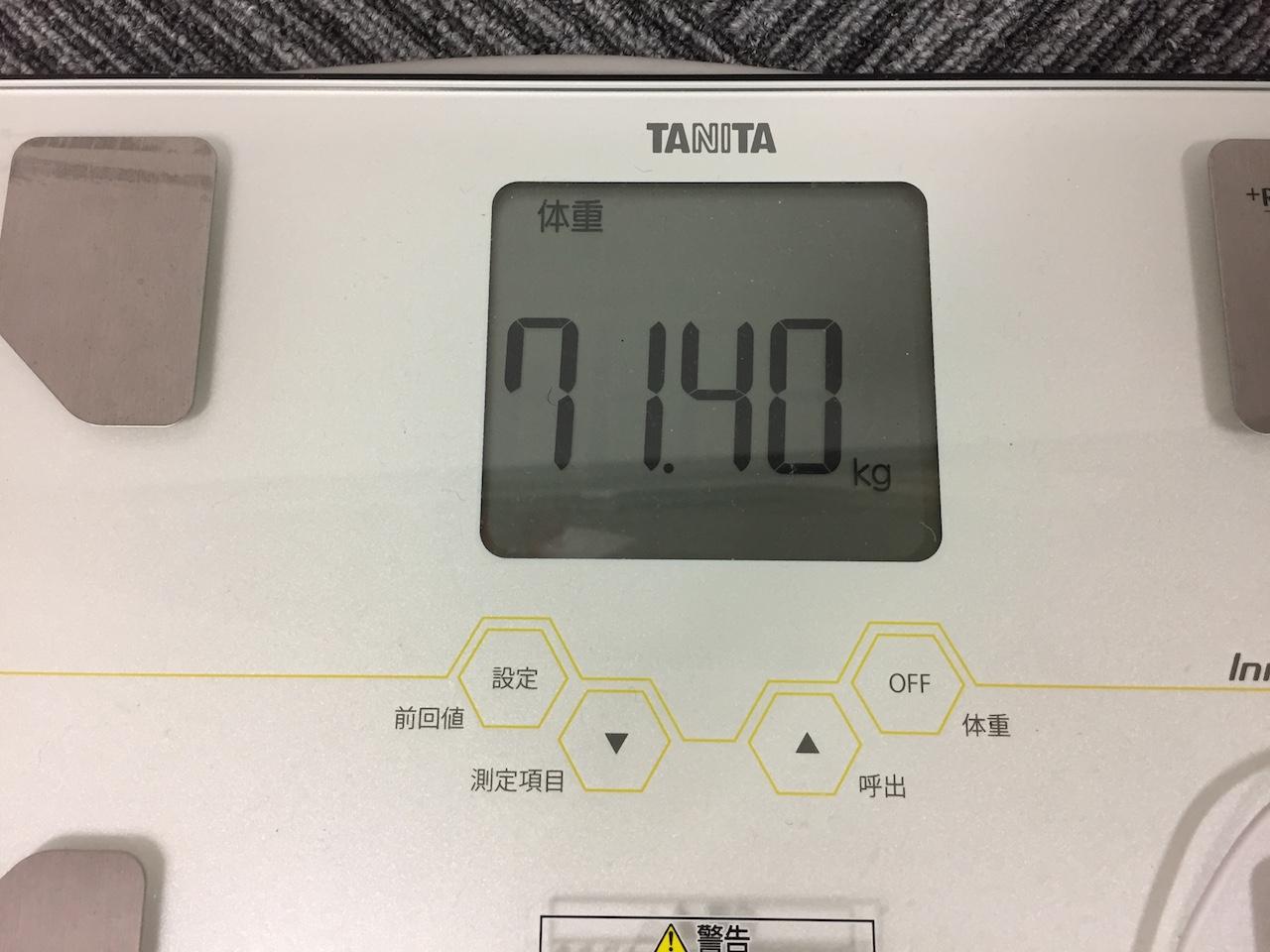 本日の体重(2018/8/31)