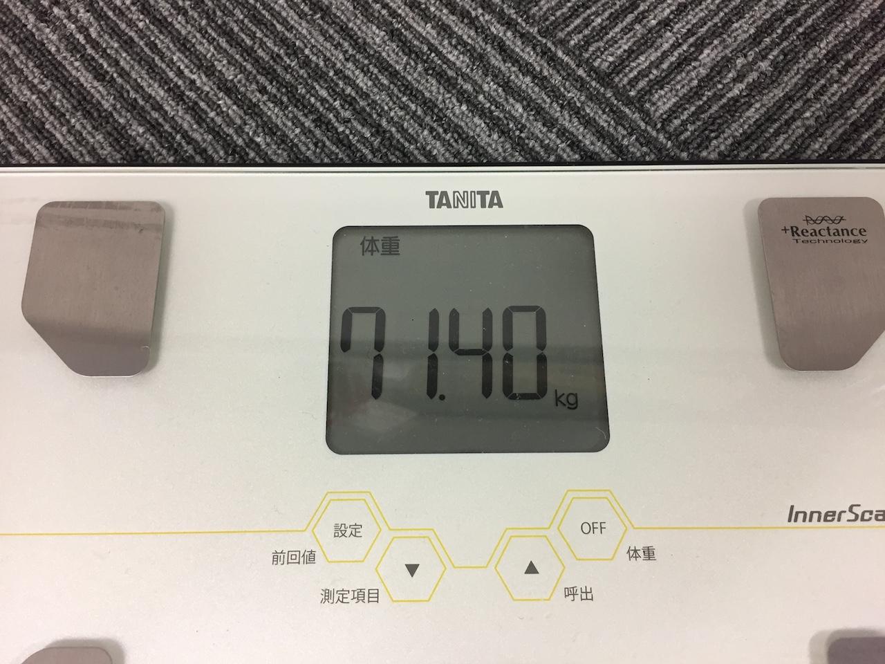 本日の体重(2018/9/5)